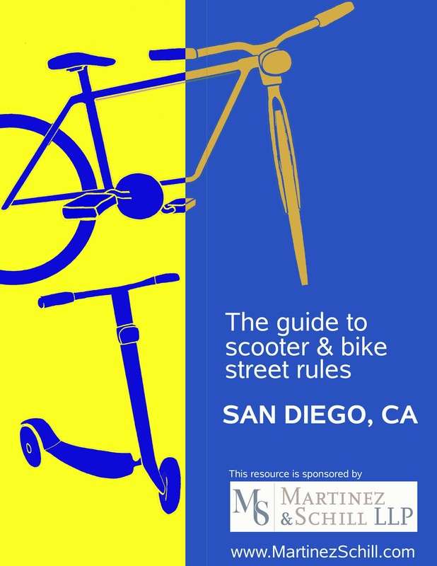 bike and e scooter, text reads illustrated guide to scooter and bike laws san diego, ca